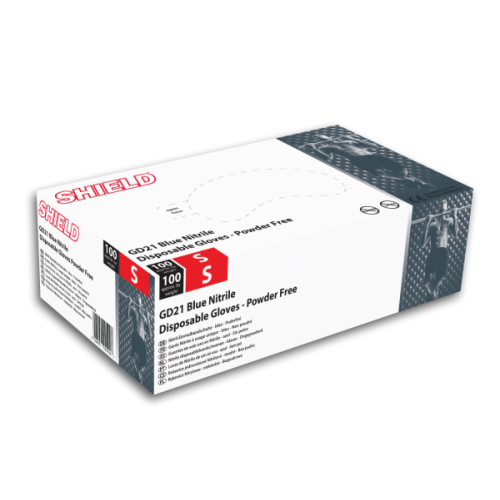 Shield Nitrile Gloves - Powder Free - Large (x100)